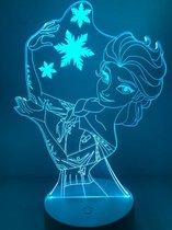 Nachtlampje Frozen. Frozen lamp Elsa/ Elsa nachtlampje 7 Kleuren. Stijl 2