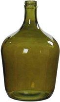 Mica Decorations diego glazen fles groen maat in cm: 30 x 18 - GROEN