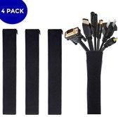 Kabel Organiser 4X – Kabelgoot – Kabel Management – Houder – voor Bureau en TV - Kabelbeschermer – Zwart - Van Zedar®