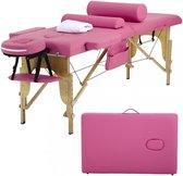 BestMassage MT-482-PINK – Massagetafel, lengte 73inch, hoogte verstelbaar, 2-voudig inklapbaar, gezichtskussen, draagtas en draagbaar – roze