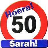 Huldeschild verjaardag stopbord Sarah 50 jaar - huldeborden - 50e verjaardag - feestversiering / deurversiering