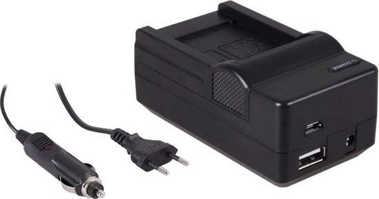 Huismerk 4-in-1 acculader voor Samsung BP70A accu - compact en licht - laden via stopcontact, auto, USB en Powerbank