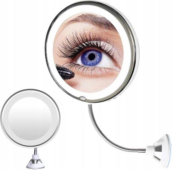 Flexibele Vergrotende Opmaakspiegel Met Zuignap & LED Verlichting - Badkamer Vergrootspiegel Voor Make-Up - Cosmetica Visagie Make-up Wand Spiegel - Scheerspiegel - 360° Draaibaar - 10x Vergroting