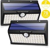 LifeGoods Solar Buitenlamp met Bewegingssensor - 78 LEDs - Tuinverlichting op Zonne energie - 2 Stuks