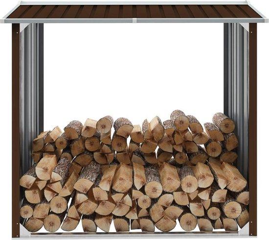 Haardhoutschuur 172x91x154 cm gegalvaniseerd staal bruin (incl. Werkhandschoenen)