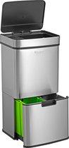 Homra NEXO - Prullenbak - 72 Liter Inhoud (2x12 + 48) - Met 3 vakken voor Afvalscheidng -  Met Infrarood Sensor - RVS