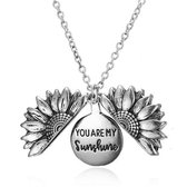 'YOU ARE MY SUNSHINE' Zonnebloem ketting - Sunflower ketting - Sunflower juweel - Sunflower necklace - Zilverkleurig