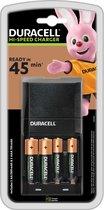 Duracell Batterijlader – Laadt op in 45 minuten, inclusief 2 AA en 2 AAA batterijen