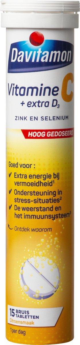 Davitamon Vitamine C forte + vitamine D3 - 15 bruistabletten - Voedingssupplement