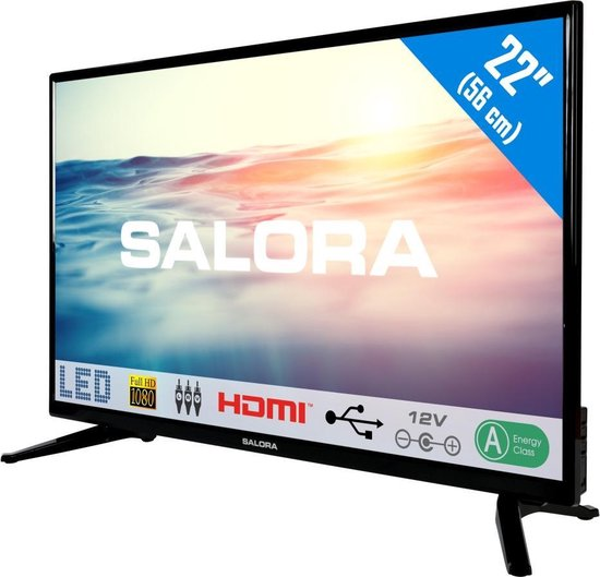 Salora 22LED1600 - Televisie - LED - Full HD - 22 Inch - Analoog - HDMI - 12 Volt