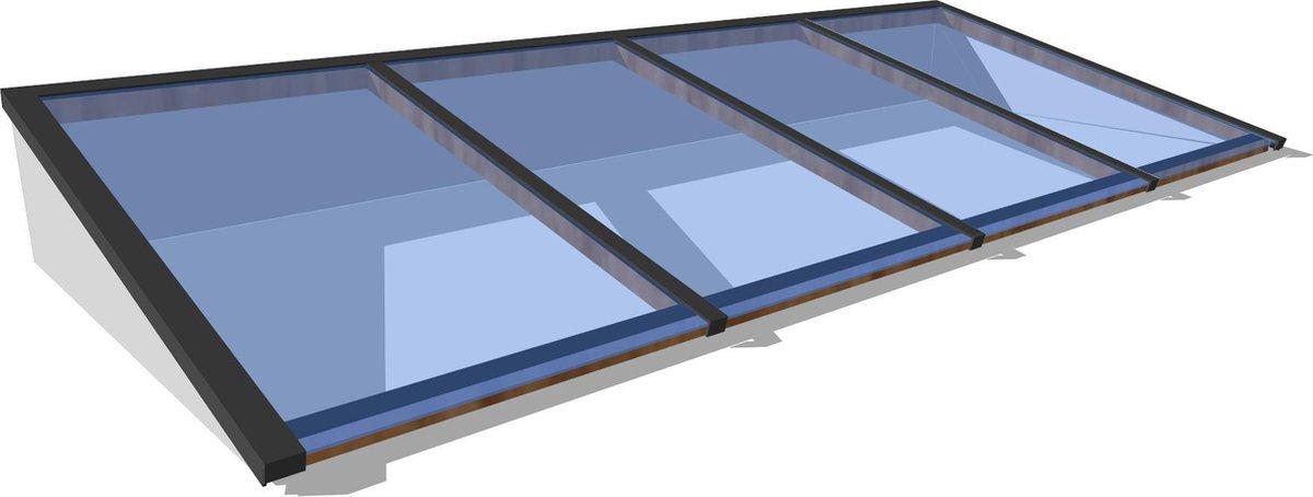 Zelfbouw lichtstraat 4 vak lessenaarsdak 3000x1000mm wit - Lichtkoepel