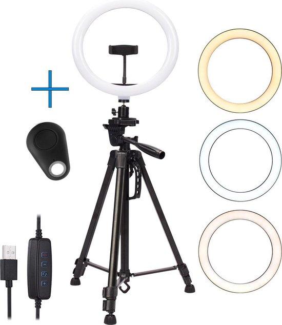 IMPAQT LED Ring Lamp dimbaar MET 3 LICHTKLEUREN incl bluetooth shutter