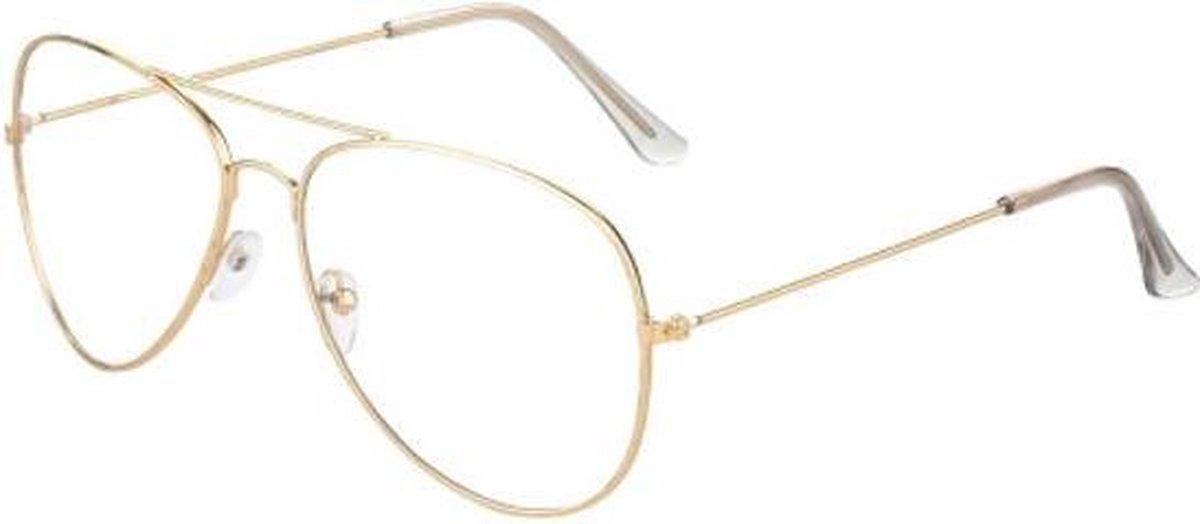 Bril met glazen   zonder sterkte   groot montuur   goud   zonnebrillen  unisex   aviator   retro