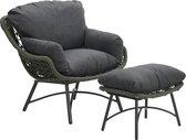 Garden Impressions Logan loungestoel incl. voetenbank - rope - mosgroen