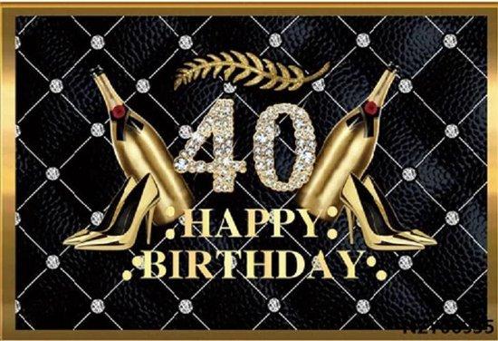 Verjaardag - Versiering - Wanddoek - Banner van Polyester - 150cm (Breed) x 100cm (Hoog) - Vrouw - 40 jaar - Diamanten - Pumps - Champagneflessen