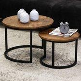 Set van 2 salontafels | Mangohout met ijzeren frame