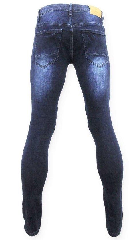 True Rise Heren Biker Jeans - Skinny Spijkerbroek 3026 Blauw W34