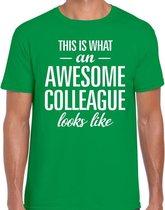 Awesome Colleague tekst t-shirt groen heren - heren fun tekst shirt groen 2XL