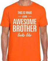 Awesome Brother tekst t-shirt oranje heren - heren fun tekst shirt oranje 2XL