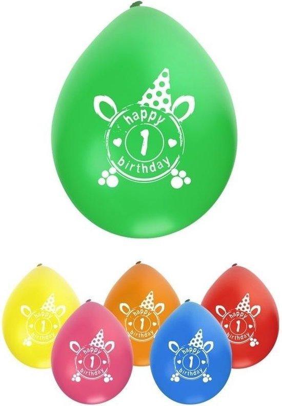 16x stuks Ballonnen 1 jaar leeftijd/verjaardag feestartikelen versiering - party ballonnen 25 cm