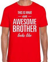 Awesome Brother tekst t-shirt rood heren - heren fun tekst shirt rood 2XL