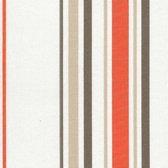 Acrisol Minerva Naranja 1202  gestreept oranje wit grijs taupe stof per meter buitenstoffen, tuinkussens, palletkussens