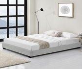 Houten bed Laag kunstleer met bedbodem 140x200 cm wit