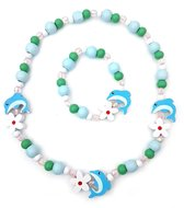 Kinderketting en armband voor meisjes houten kraaltjes groen en blauw dolfijntjes en bloemen