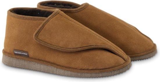 Texelana sloffen en pantoffels voor dames & heren - pantoffel van schapenvacht met ruime instap door klittenband sluiting - model Bea - maat 43