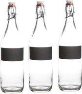 3x Waterfles met krijtvak - 3x beugelfles met krijtvak - 3 stuks
