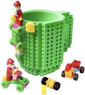 Lego Mok/ Build on Brick Mug - groen - 350 ml - bouw je eigen mok met bouwsteentjes - BPA vrije drinkbeker cadeau voor kinderen of volwassenen - koffie thee limonade of andere dranken - pennenbeker - creatief accessoire voor op bureau -HnD