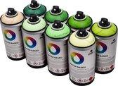 MTN Waterbasis Spuitbussen Pakket - 8x Groen Tinten - Lage druk, matte afwerking graffiti spuitverf - 300ml