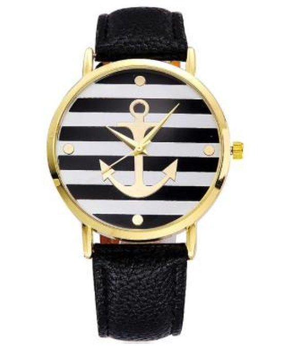 Hidzo Horloge Anker ø 37 mm – Zwart/Wit – Kunstleer