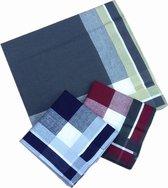 katoenen zakdoeken- 100% katoen- donker- ruitenzakdoeken- 12 stuks- heren zakdoeken- 40x 40cm
