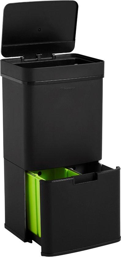 Homra NEXO Prullenbak Afvalscheiding 3 vakken - 72 Liter (2x12 + 48 L) met infrarood Sensor - Design Trio Afvalemmer RVS - Zwart - Afvalscheidingsprullenbak - Keuken Afvalemmer - Zwarte Recycle Afvalbak - Hygiënisch - Kantoor Vuilbak - Elektrisch