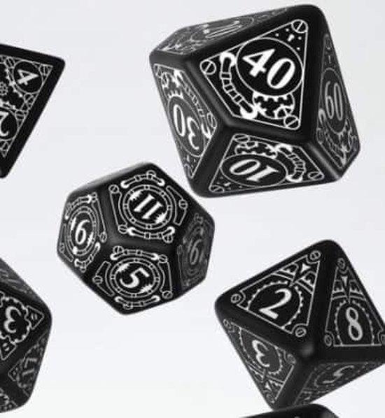 Thumbnail van een extra afbeelding van het spel Steampunk Black & white Dice Set