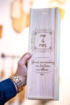 TextTim.nl Gegraveerde Wijnkist Hout Bruiloft Cadeau - Duurzaam Cadeau - Cadeau voor Mannen/Vrouwen - Wijn - Trouwcadeau