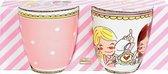 Blond Amsterdam Even Bijkletsen Set Mini Mokken - Pink Dot - 200 ml - 2 stuks