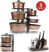 KitchenBrothers Verstelbaar Pannenrek - Opberg Rek voor 8 Potten en Pannen - Keuken Kast Organizer Staand - IJzer - Zwart