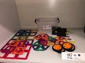 Magnetische bouwblokken set 55 stuks in opbergbox.   Diamond Block, kwaliteits stapelblokken voor de leukste creaties. Nu met mooie wielset voor creatieve voertuigen.
