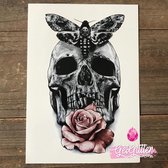 GetGlitterBaby - Plak Tattoo / Tijdelijke Tattoos / Nep Tatoeage - Skull / Doodshoofd / Roos