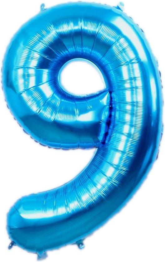 Folie Ballon Cijfer 9 Jaar Blauw 86Cm Verjaardag Folieballon Met Rietje