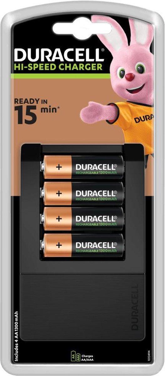 Duracell Batterijlader   Laadt op in 15 minuten, inclusief 4 AA batterijen