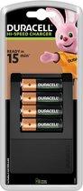 Duracell Batterijlader – Laadt op in 15 minuten, inclusief 4 AA batterijen