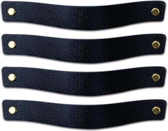 Leren handgrepen - Zwart - 4 stuks - 20,0 x 2,5 cm | incl. 3 kleuren schroeven per leren handgreep