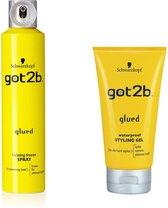 [Combo]  Schwarzkopf got2b glued waterproof gel & got2B GLUED EXTREME FREEZE HAARSPRAY/ ook voor pruiken