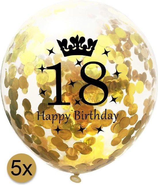 5 stuks confetti ballonnen | 18 jaar | Happy Birthday | Gouden Confetti | Verjaardag | Versiering