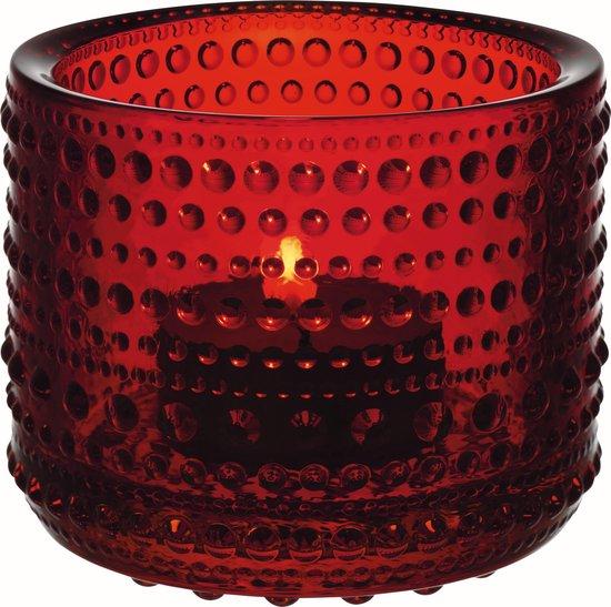Iittala Kastehelmi - Waxinelichtjeshouder - Sfeerlicht - h 6.4 cm - Cranberry