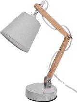 Witte tafellamp/bureaulamp hout/metaal 26 cm - Woondecoratie lamp op metalen voet wit