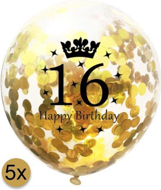 5 stuks confetti ballonnen | 16 jaar | Happy Birthday | Gouden Confetti | Verjaardag | Versiering